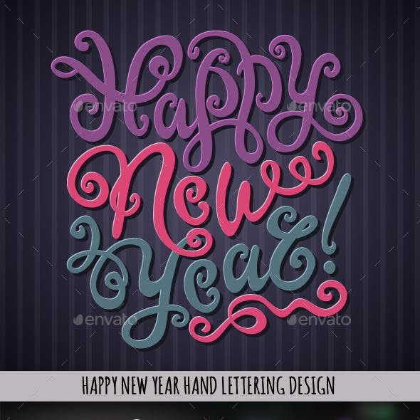 Happy New Year Hand Lettering Set