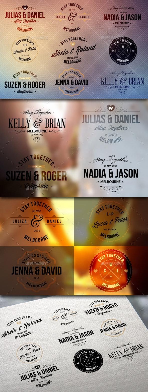 Wedding Badge Labels - Badges & Stickers Web Elements