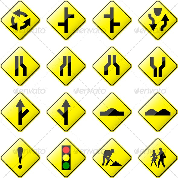 Road Sign Glossy Vector (Set 2 of 6) - Man-made Objects Objects