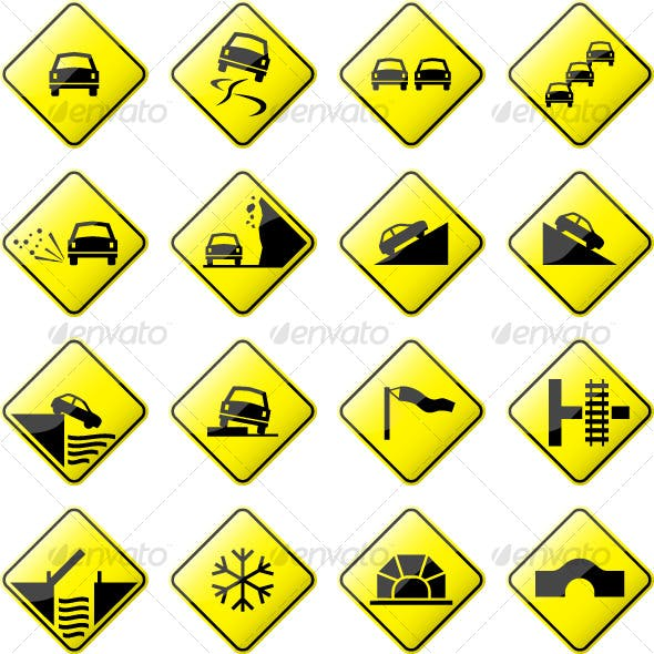Road Sign Glossy Vector (Set 3 of 6)