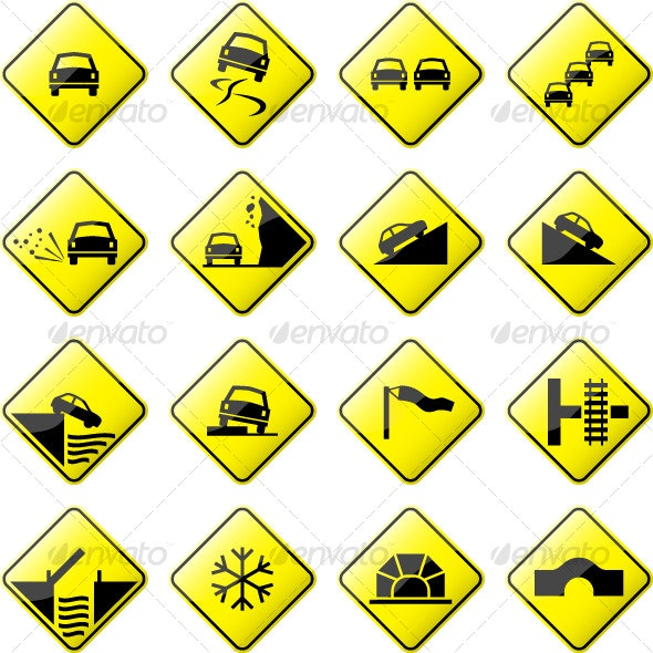 Road Sign Glossy Vector (Set 3 of 6) - Man-made Objects Objects