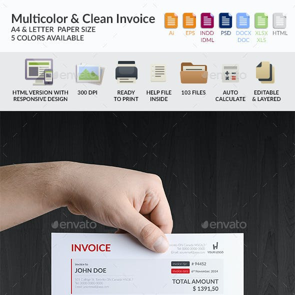 Multicolor & Clean Invoice