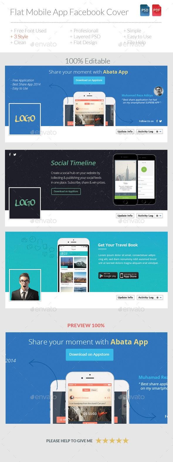 Flat Mobile App Facebook Timeline - Facebook Timeline Covers Social Media
