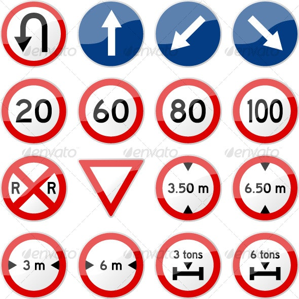 Road Sign Glossy Vector (Set 5 of 6) - Man-made Objects Objects