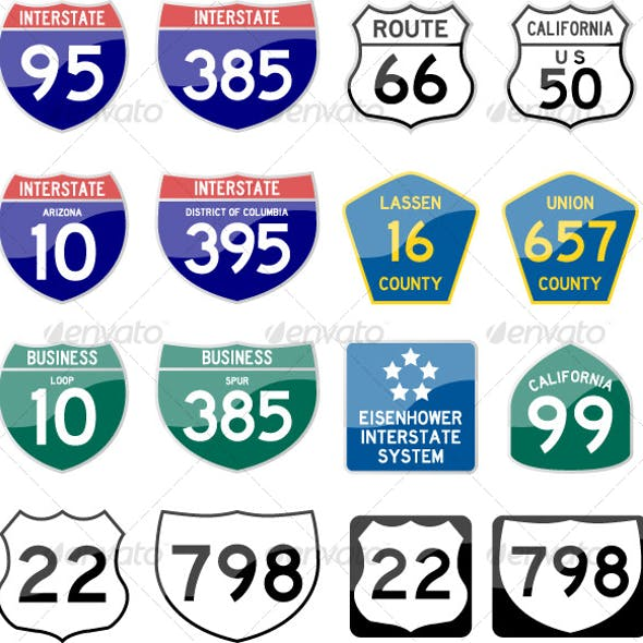 Road Sign Interstate Glossy Vector (Set 6 of 6)