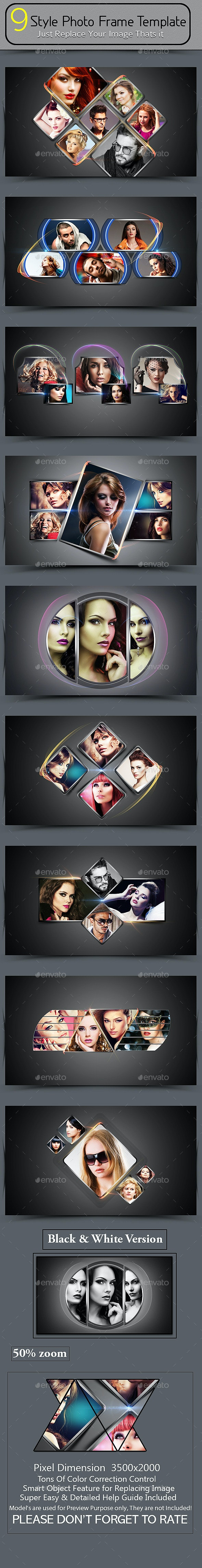9 Style Photo Frame Template - Photo Templates Graphics