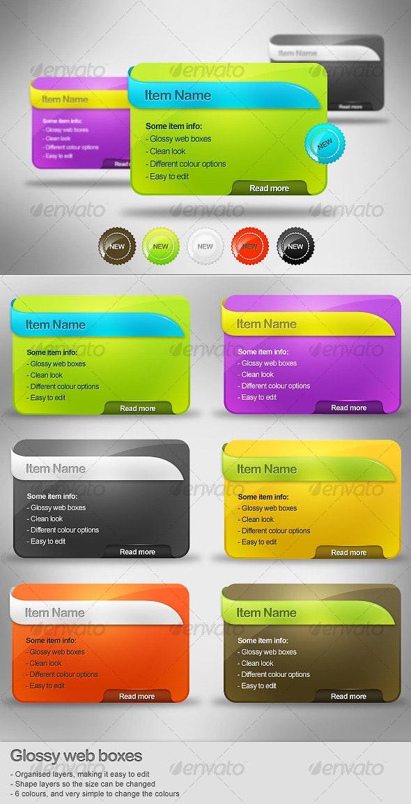 Glossy Web Boxes - 6 Colours - Web Elements