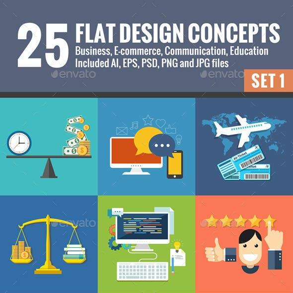 25 Flat Design Concepts Set 1
