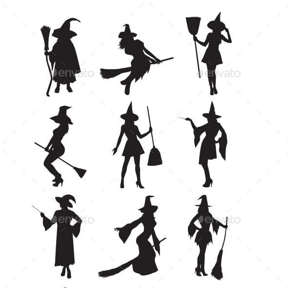 Witch And Magician Silhouettes