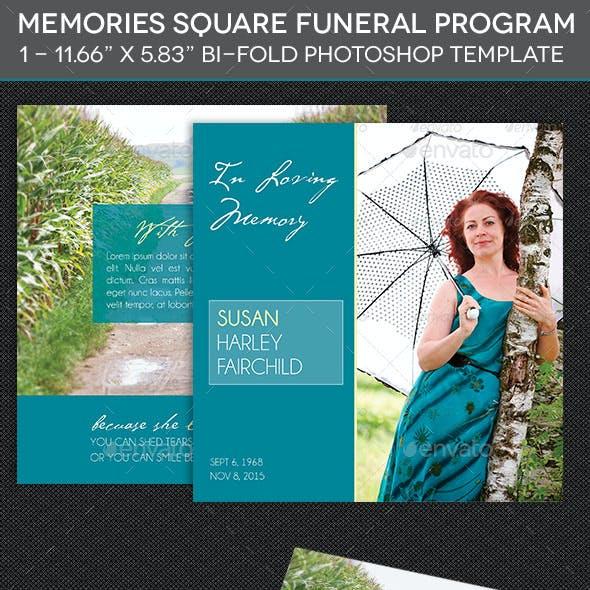 Memories Square Funeral Program Template