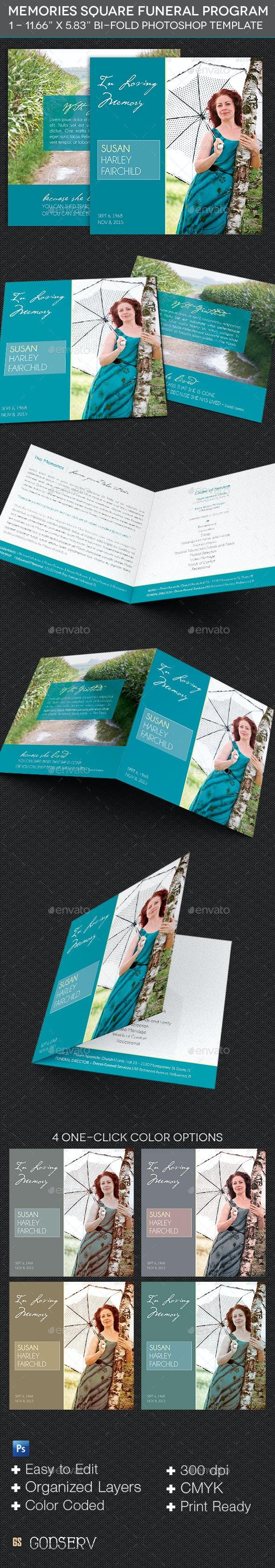 Memories Square Funeral Program Template - Informational Brochures