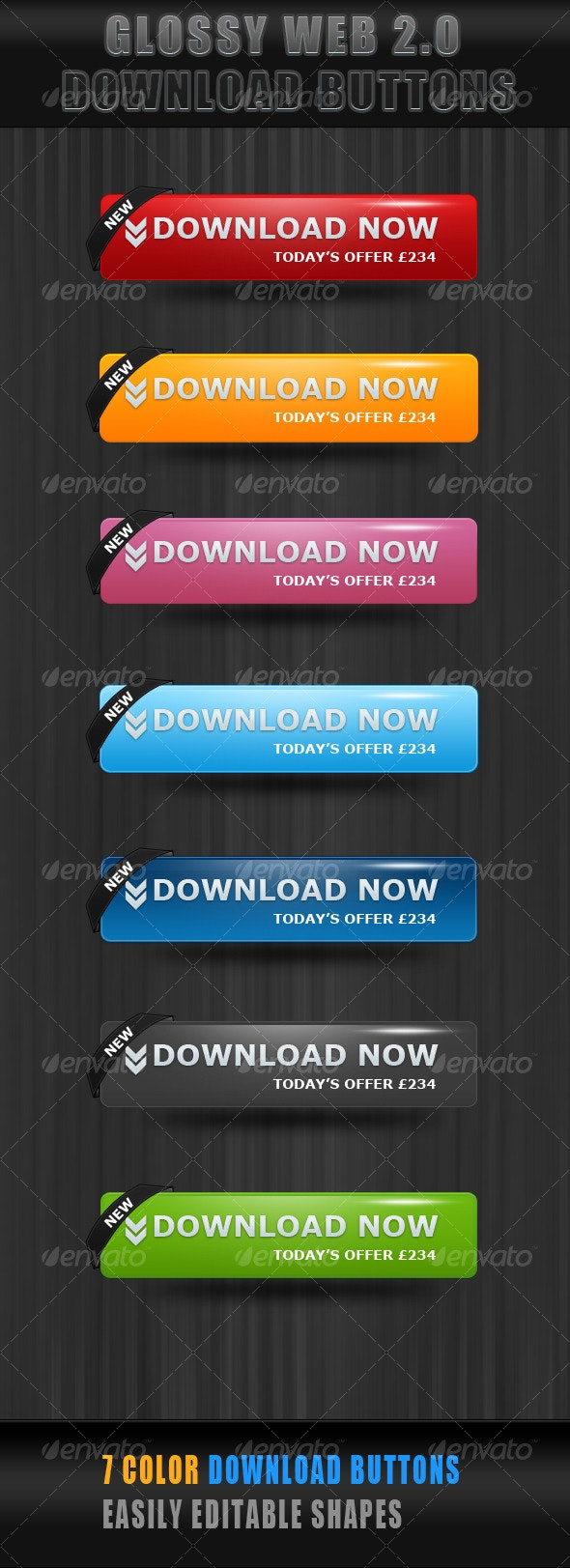 Glossy Download Now  Buttons - Web Elements