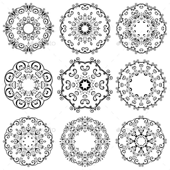 Round Ornament Set. Template for your Design.