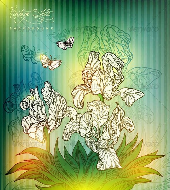 Vintage styled floral design - vector - Flowers & Plants Nature