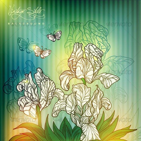 Vintage styled floral design - vector