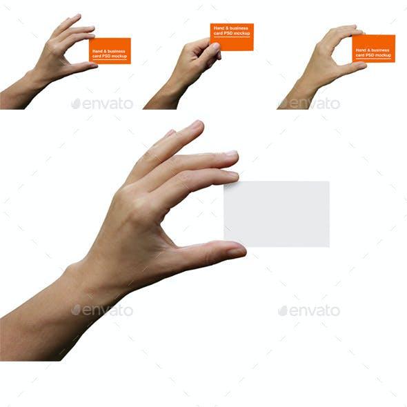 3 Hands Holding Business Cards Mockups