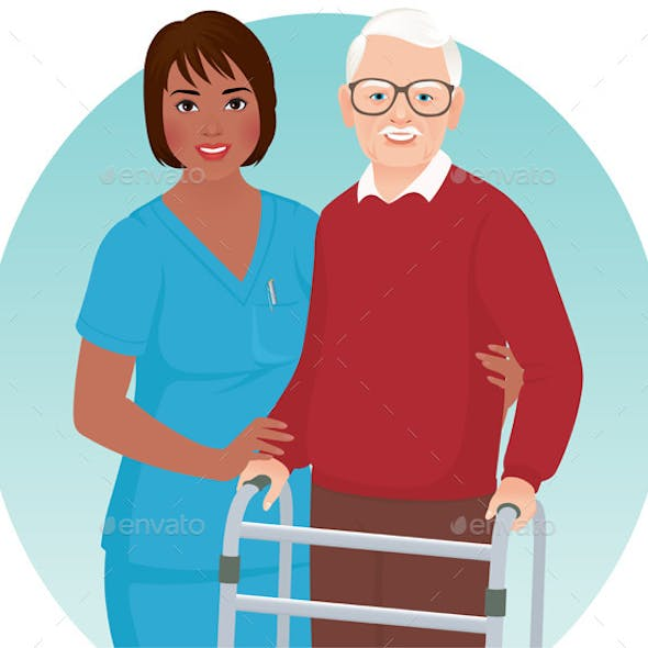 Nurse Helps Elderly Patient