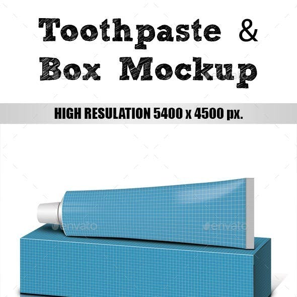 Toothpaste & Box Mockup