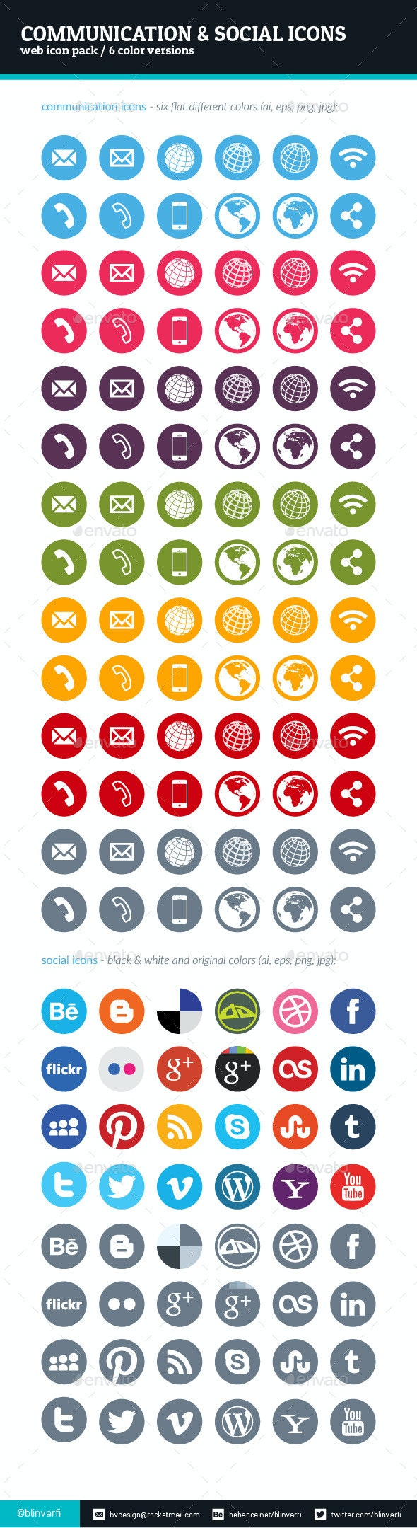 Communication and Social Icons - Icons