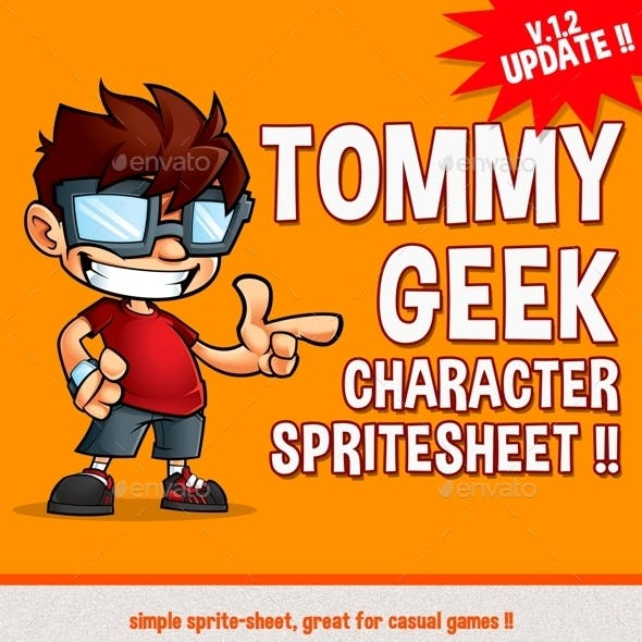 Tommy Geek - Game Character Spritesheet