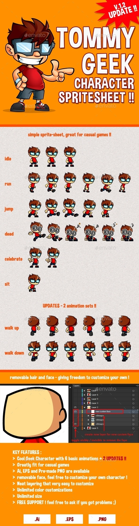 Tommy Geek - Game Character Spritesheet - Sprites Game Assets