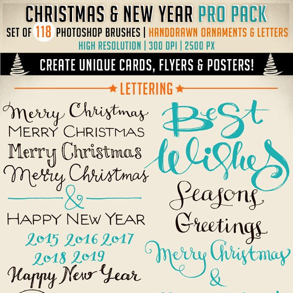 Christmas and New Year Photoshop Brushes