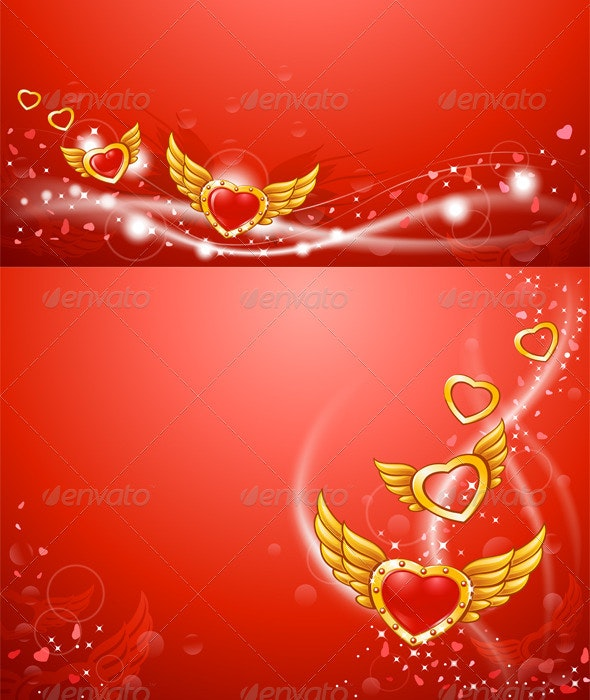 Winged Flying Golden Hearts Card - Backgrounds Decorative