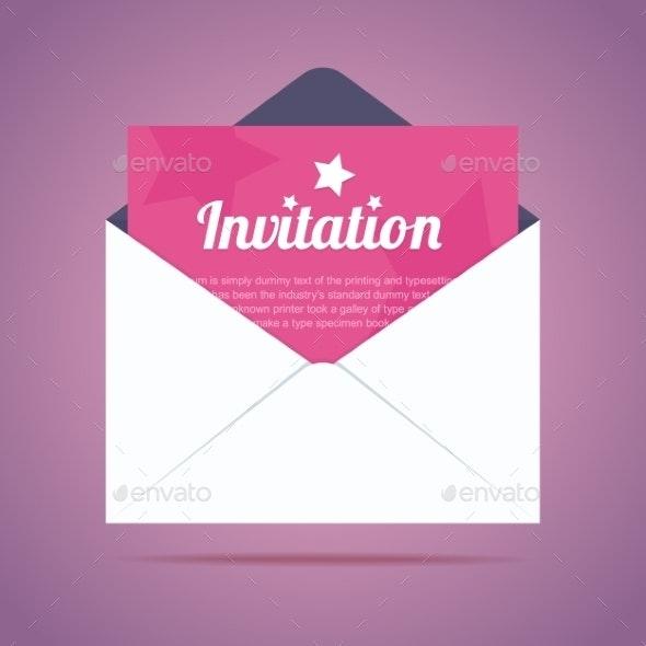 Envelope with Invitation - Miscellaneous Vectors