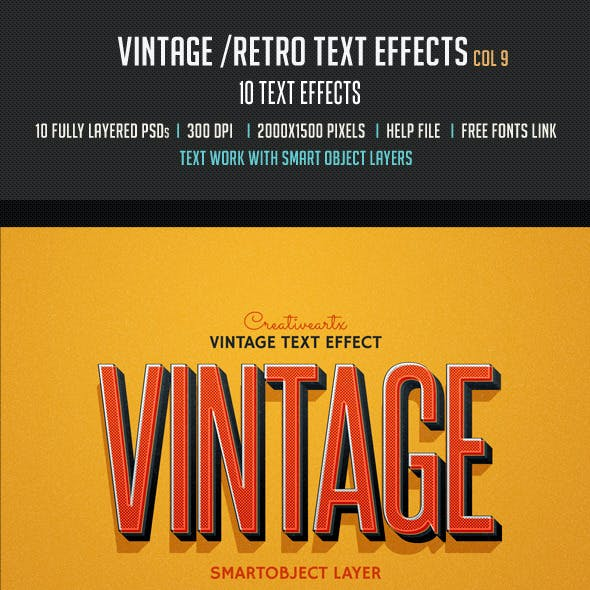Vintage Retro Text Effects Col 9