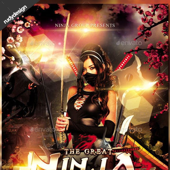 Ninja Warrior Party Flyer Design