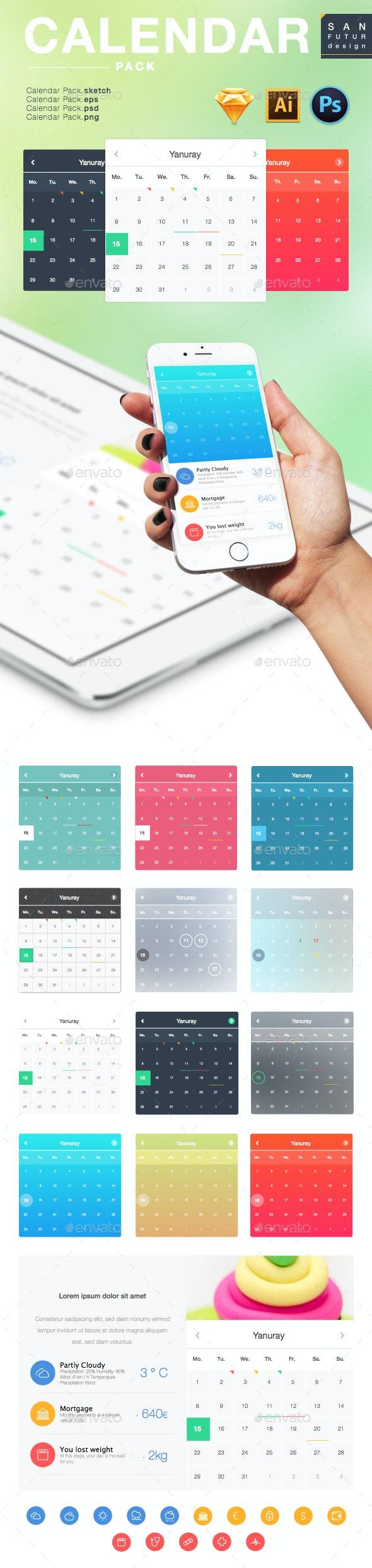 Calendar Pack (Flat,Gradient) - Miscellaneous Social Media