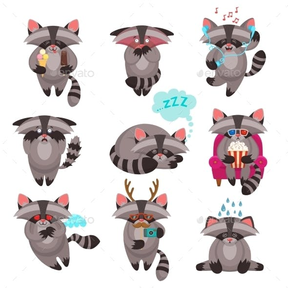 Racoon Emotions Stickers Set