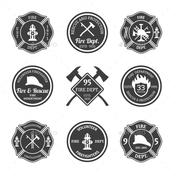 Fire Department Emblems Black