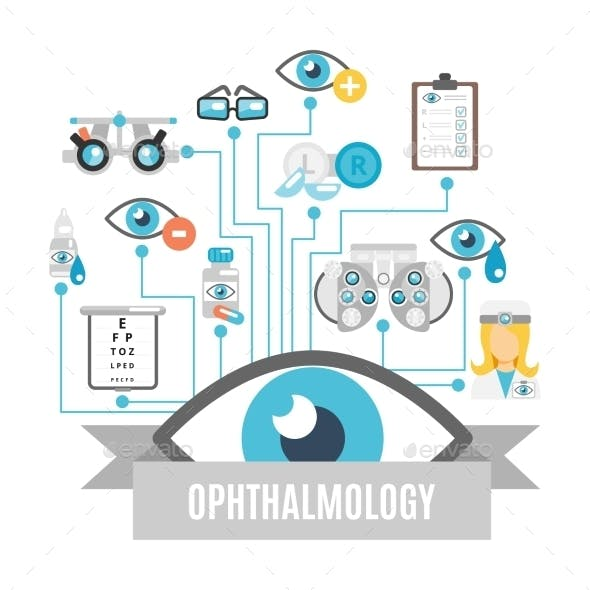 Ophthalmology Concept Flat