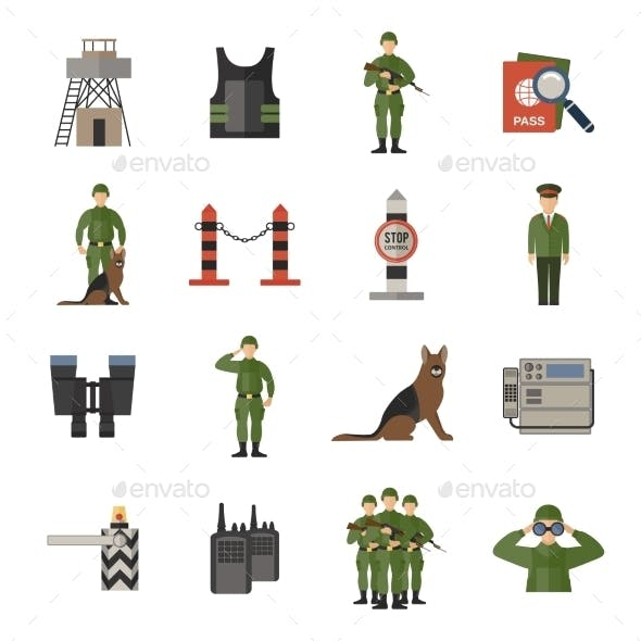 Border Guard Icons Flat