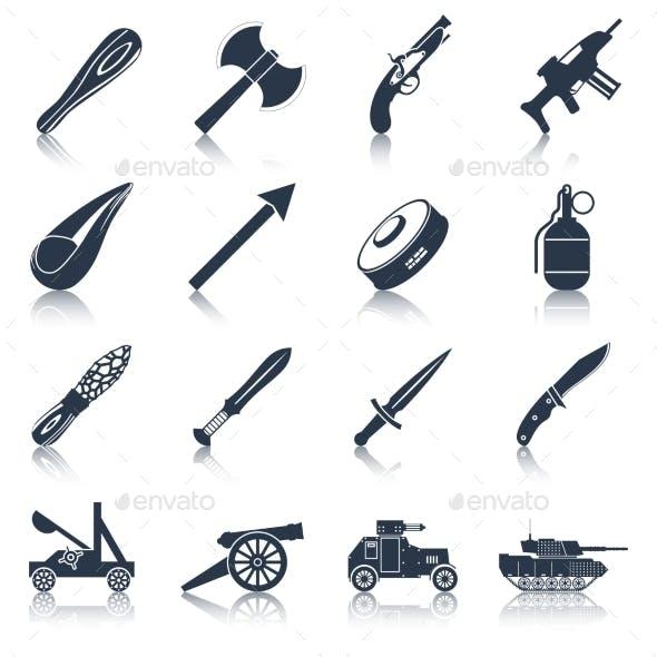 Weapon Icons Black Set