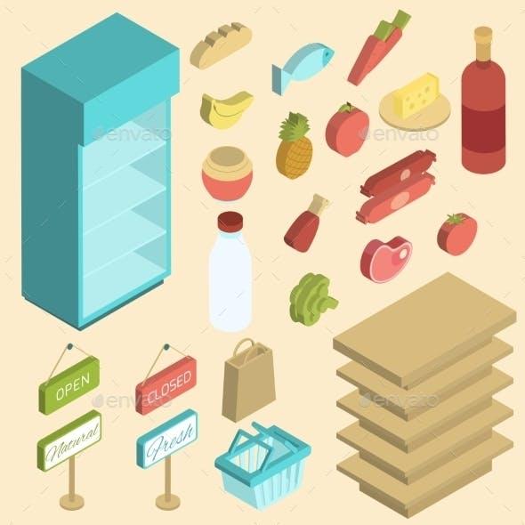 Supermarket Icon Isometric