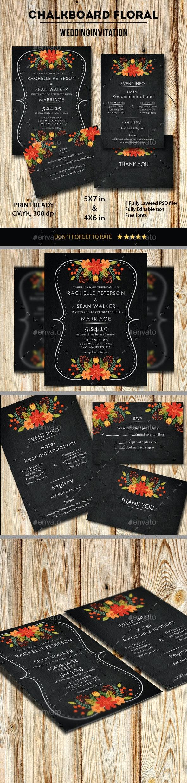 Chalkboard Floral Wedding Invitation - Weddings Cards & Invites