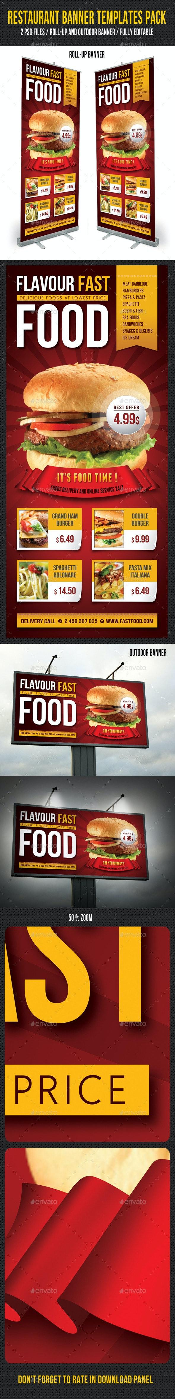 Restaurant Banner Templates Pack - Signage Print Templates