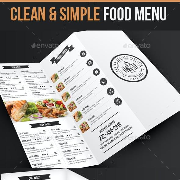 Simple & Clean Food Menu