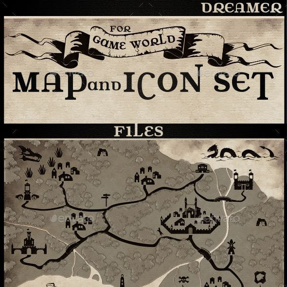 Map and Icon Set for Game World