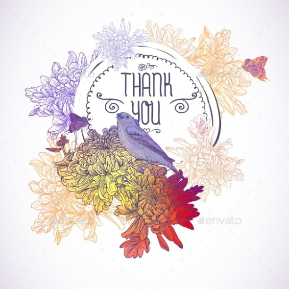 Greeting Card with Birds and Chrysanthemums.