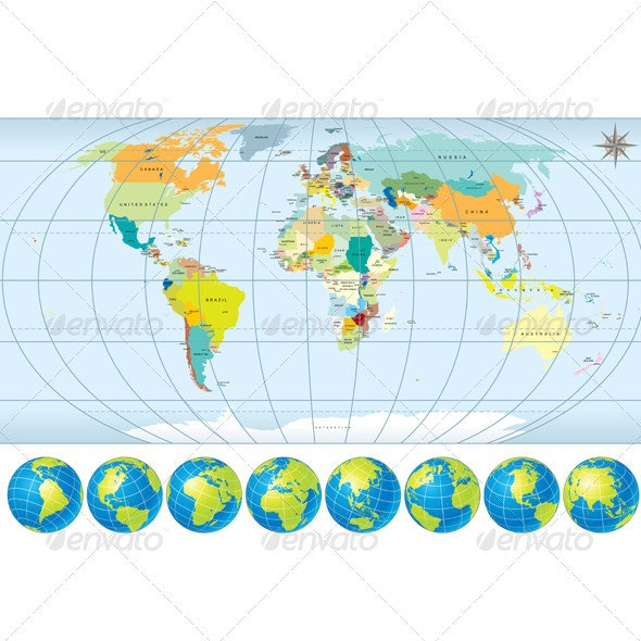 Detailed World Map with Globes - Miscellaneous Vectors