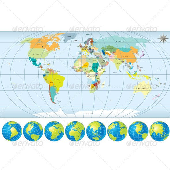 Detailed World Map with Globes