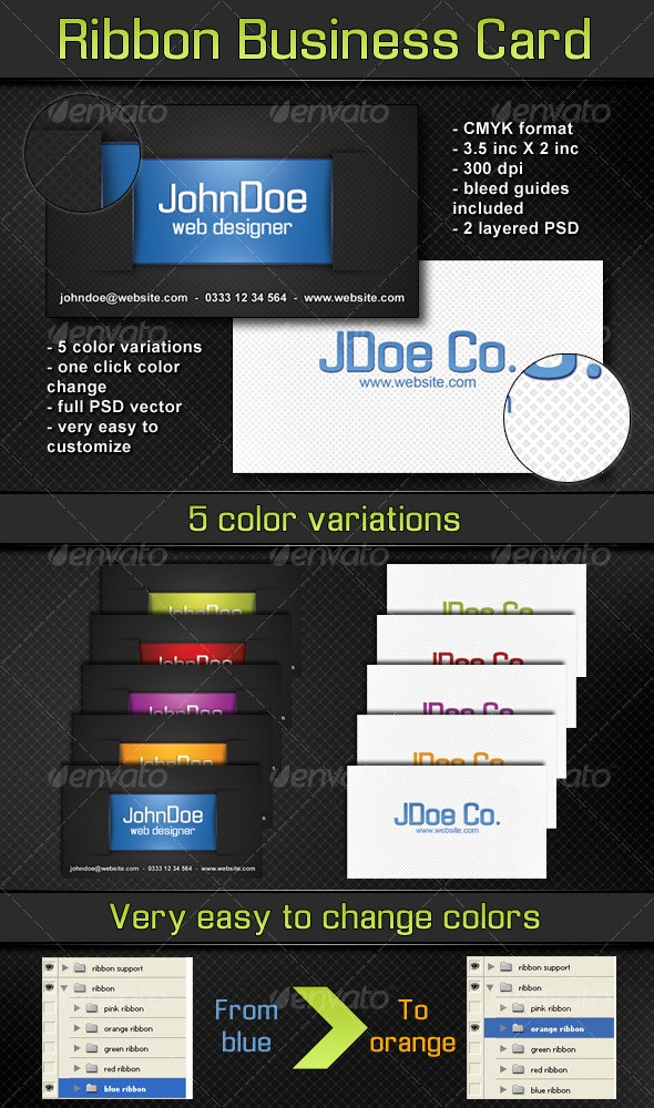 Ribbon Business Card - 5 color variations - Creative Business Cards