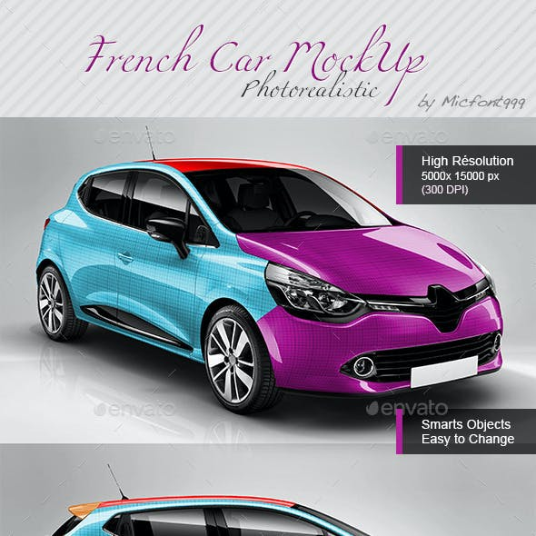 Photorealistic Popular French Car Mock-up