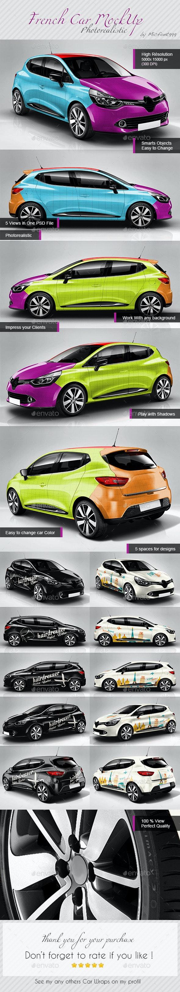 Photorealistic Popular French Car Mock-up - Vehicle Wraps Print