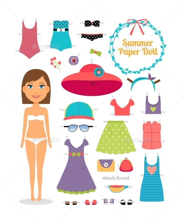 Summer Paper Doll - Objects Vectors
