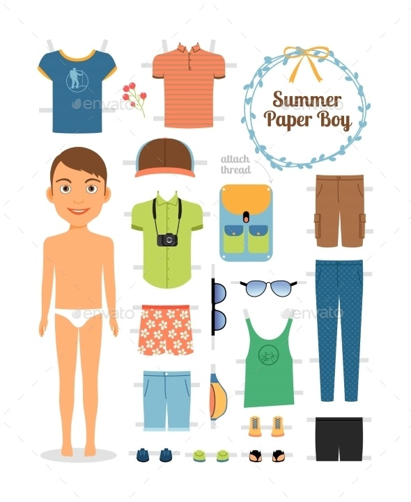 Paper Doll Boy in Summer Clothes and Shoes - Miscellaneous Vectors