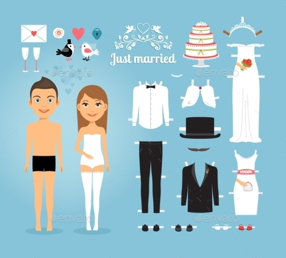 Just Married Paper Dolls with Set of Wedding Stuff - People Characters